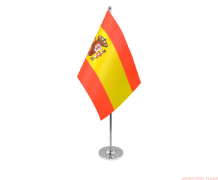 SPAIN WITH CREST - DELUXE SATIN TABLE FLAG